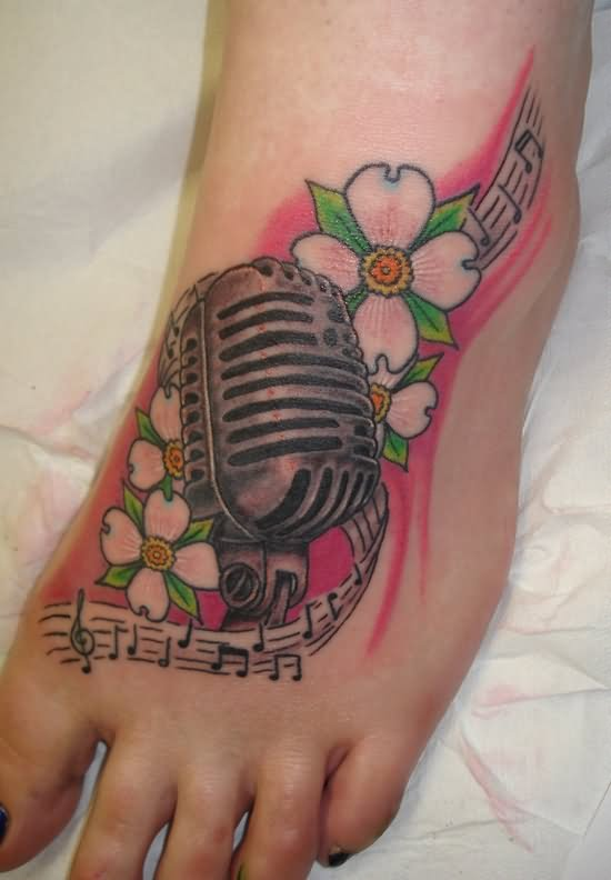 Flower And Microphone Tattoo On Left Foot Yellow Rose With Butterfly Tattoo