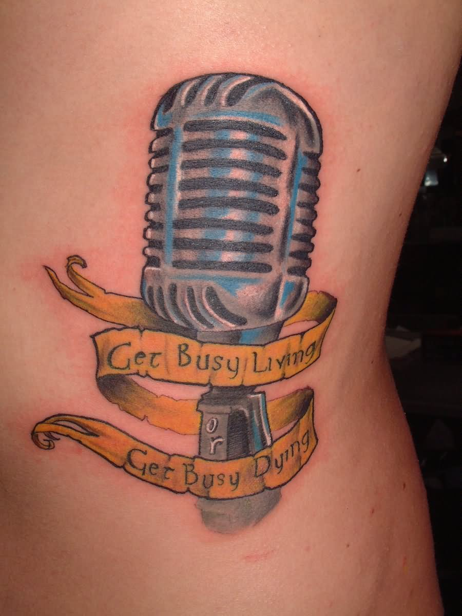 60+ Awesome Microphone Tattoos  Microphone Tattoo Designs For Girls
