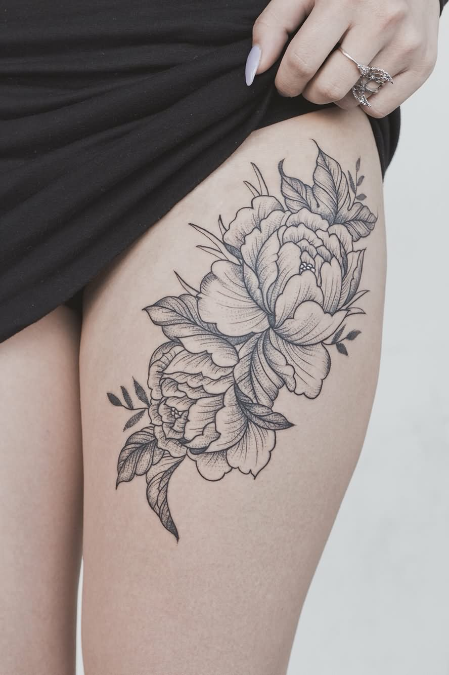 Hibiscus Flower Thigh Tattoo: 50+ Beautiful Thigh Tattoos For Girls
