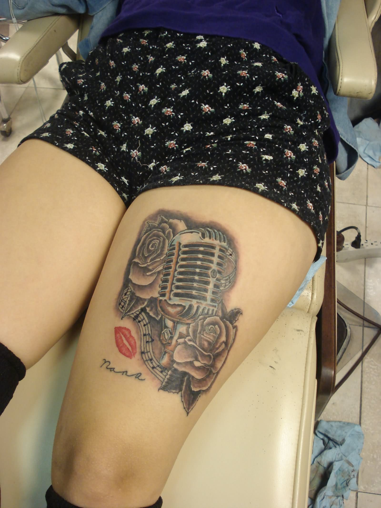 35+ Microphone Rose Tattoos  Microphone Tattoo Designs For Girls