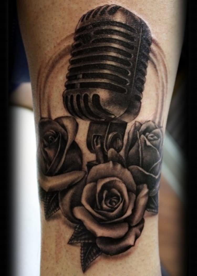 35 microphone rose tattoos rh askideas com old school microphone traditional tattoo Skull Microphone Tattoo