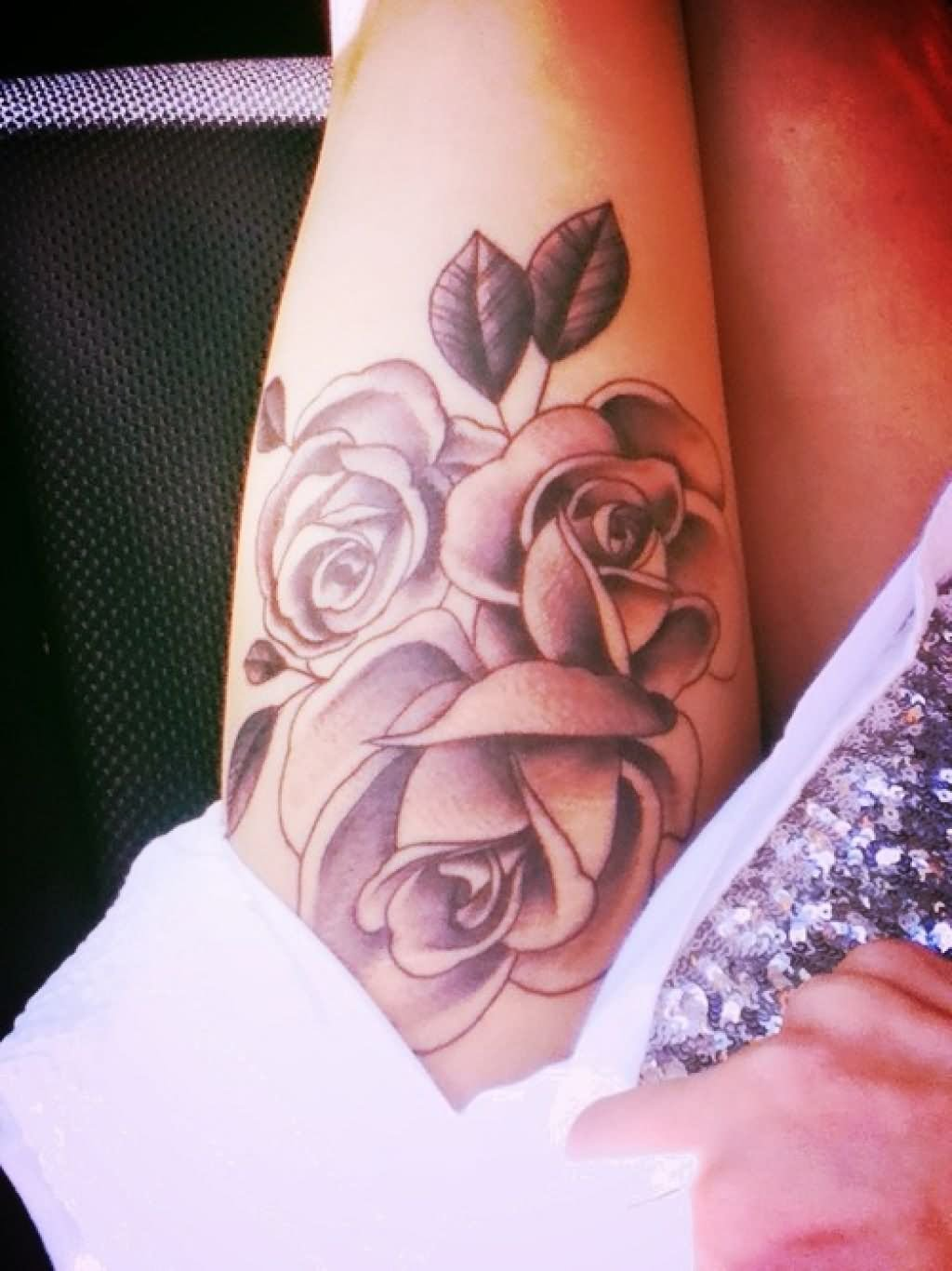 16 best side thigh tattoos for Tattoo rose on thigh