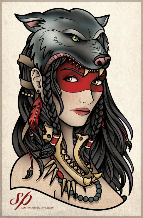2e3df990f Gypsy Wolf Girl Tattoo Design Sample