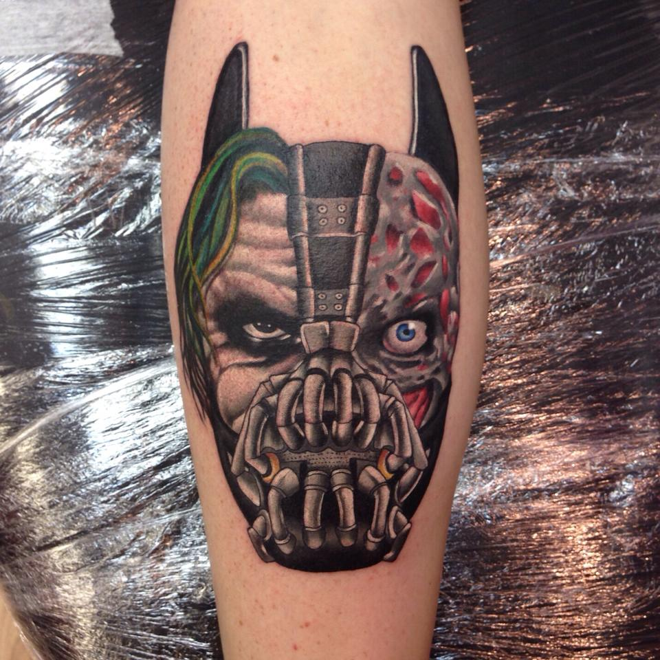 Joker And Bane Two Face Tattoo Done By Paul Priestley