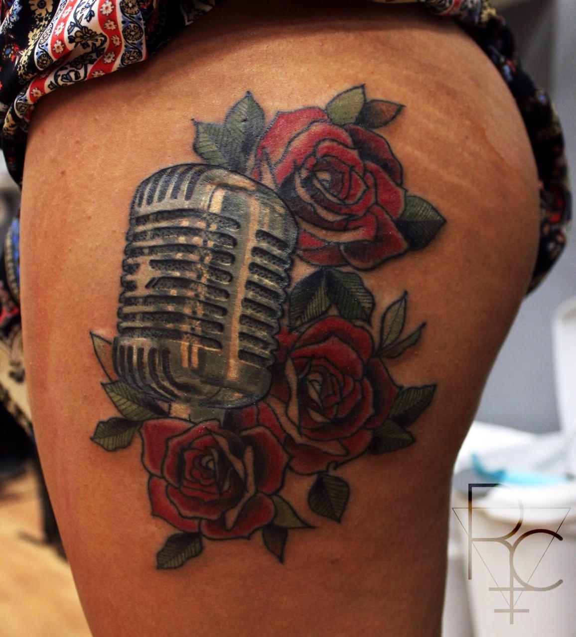 35 Microphone Rose Tattoos