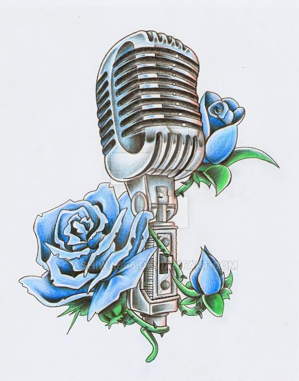 35 microphone rose tattoos. Black Bedroom Furniture Sets. Home Design Ideas