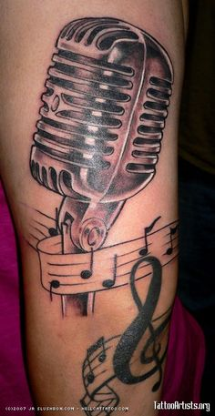 60 awesome microphone tattoos for Music notes tattoo sleeve