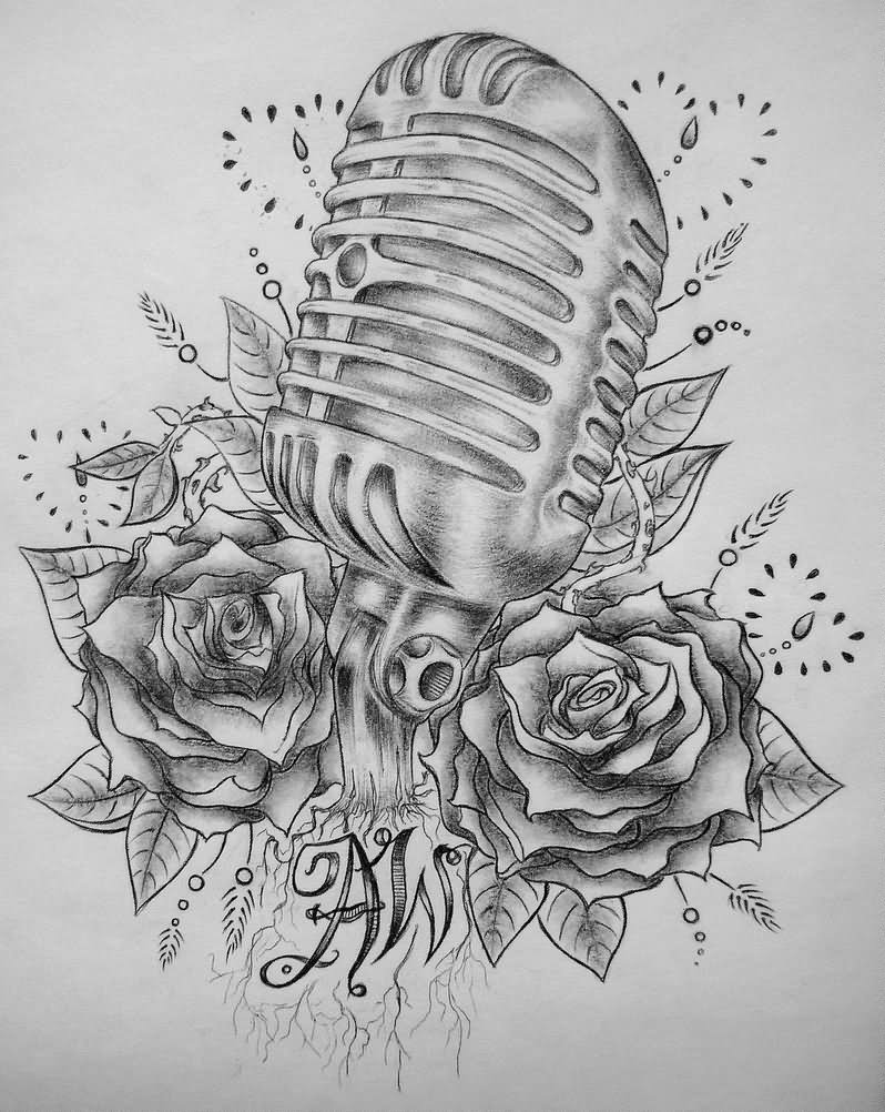 old school microphone tattoo design by madeline cornish. Black Bedroom Furniture Sets. Home Design Ideas