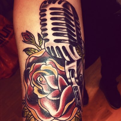 60 awesome microphone tattoos rh askideas com old fashioned microphone tattoo classic microphone tattoo