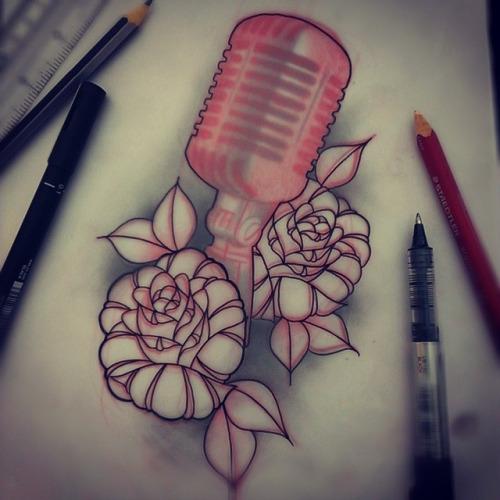35+ Microphone Rose Tattoos | 500 x 500 jpeg 74kB