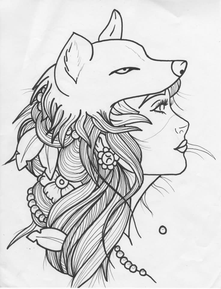 outline wolf girl tattoo design idea by bbschoes. Black Bedroom Furniture Sets. Home Design Ideas