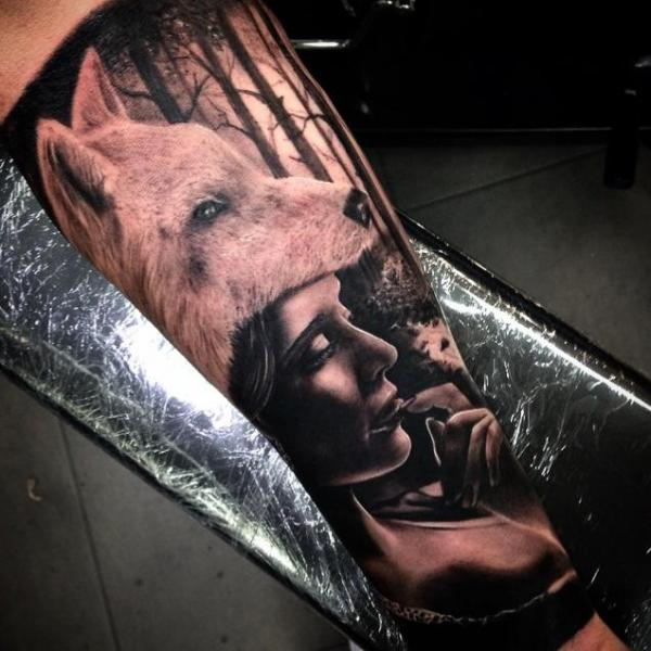 Realistic Wolf Girl Tattoo On Arm By Drew Apicture