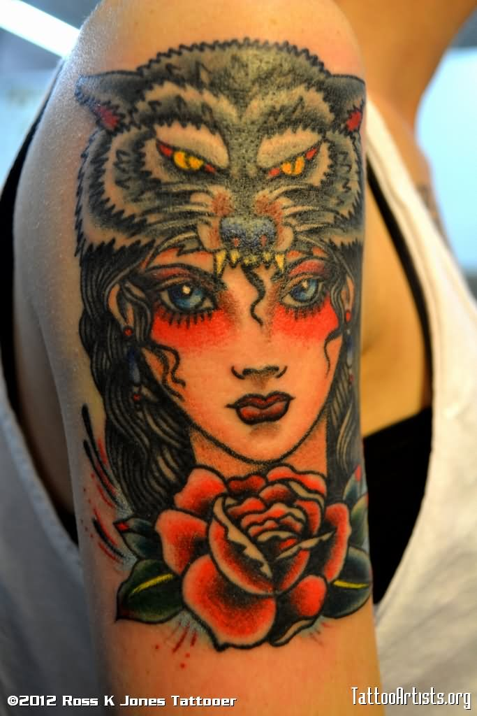 35 amazing wolf girl tattoos for Red wolf tattoo