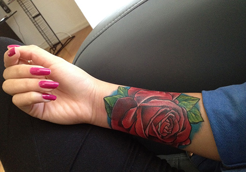 a8b443f0c Red Rose Tattoo On Girl Right Forearm