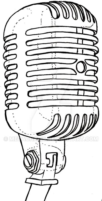 retro microphone tattoo design by metacharis