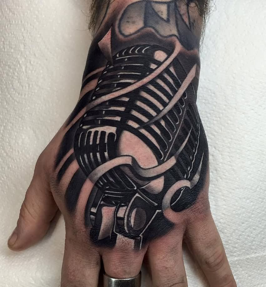 Retro Microphone Tattoo On Left Hand | 850 x 919 jpeg 96kB