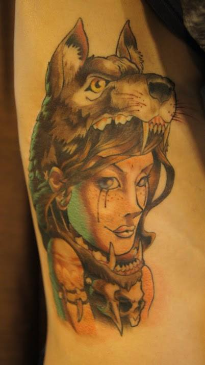 35 amazing wolf girl tattoos. Black Bedroom Furniture Sets. Home Design Ideas
