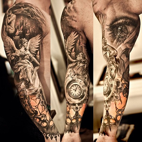3d Angel With Eye And Clock Tattoo On Man Full Sleeve