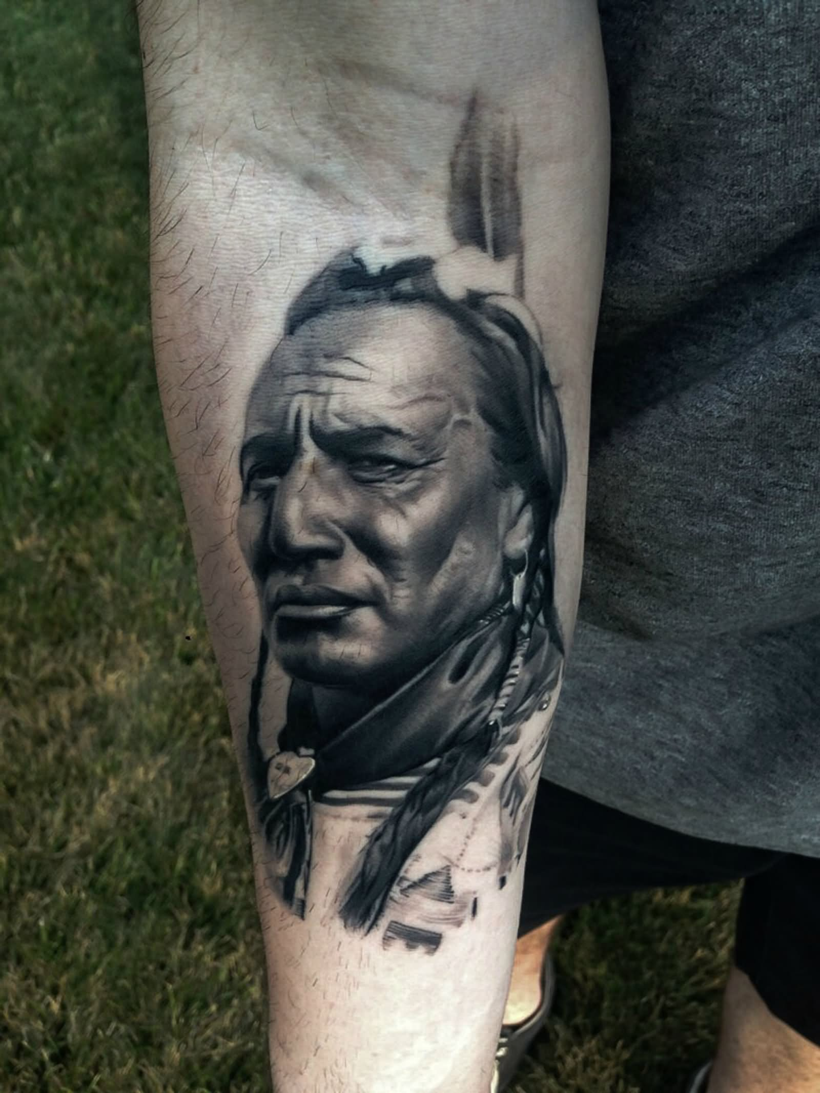9d8f553d2 3D Black And Grey Indian Chief Tattoo On Forearm