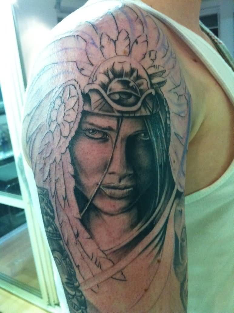 52 female indian chief tattoos. Black Bedroom Furniture Sets. Home Design Ideas