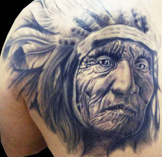 traditional indian chief tattoo on shoulder by mason hogue. Black Bedroom Furniture Sets. Home Design Ideas