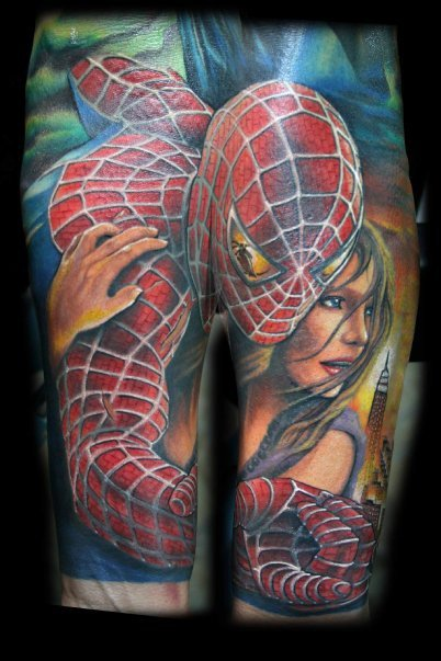400b7076e Amazing Colored Spiderman Tattoo by Chris Blinston