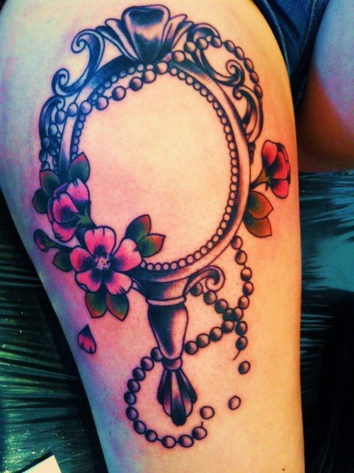 antique hand mirror tattoo. Amazing Hand Mirror Tattoo Idea Antique N