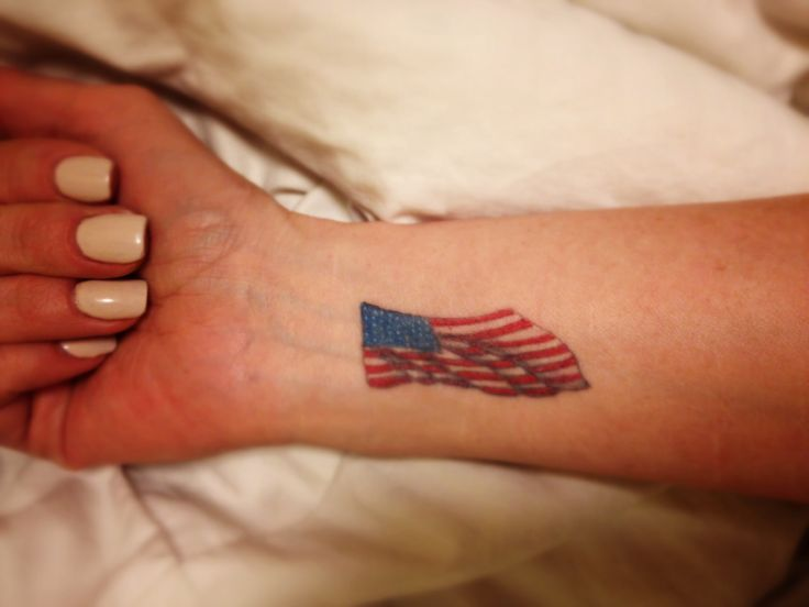 American Flag Tattoo On Girl Right Wrist