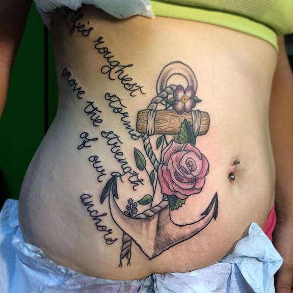 5c7b1d6e1 Anchor With Rose Tattoo On Girl Stomach