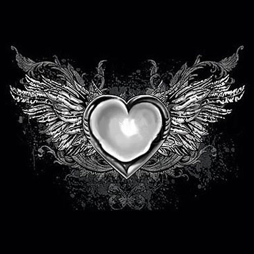 Attractive Grey Ink Gothic Heart With Wings Tattoo Design