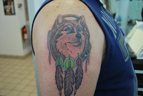 32 indian chief wolf tattoos for Wolf head dreamcatcher tattoo