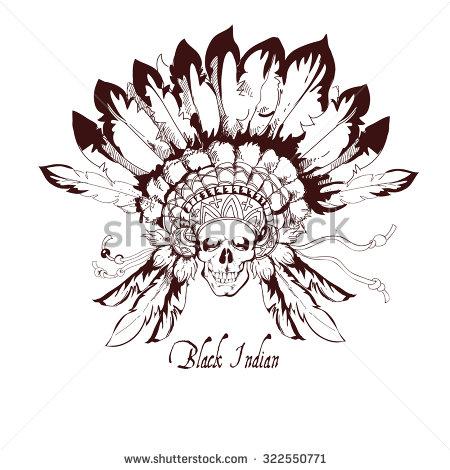 bb76f152e Awesome Indian Chief Skull Head Tattoo Design