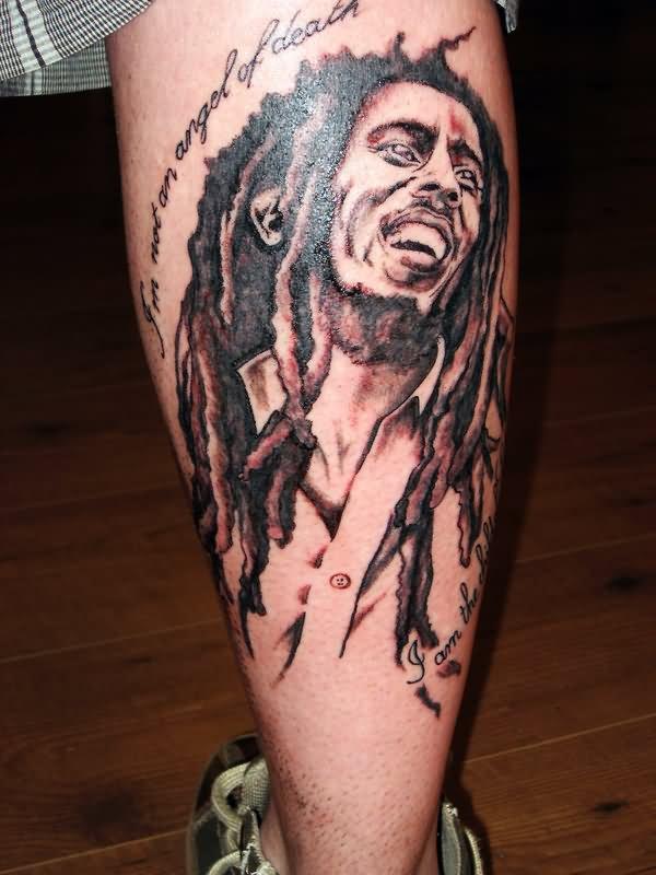 Back leg grey ink bob marley tattoo by sanne de haan for Bob marley tattoo
