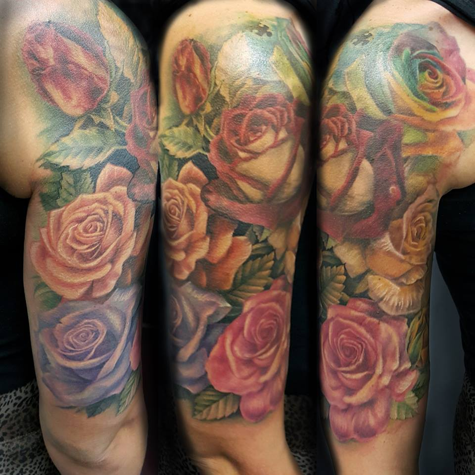 beautiful colored rose flowers tattoo on half sleeve. Black Bedroom Furniture Sets. Home Design Ideas