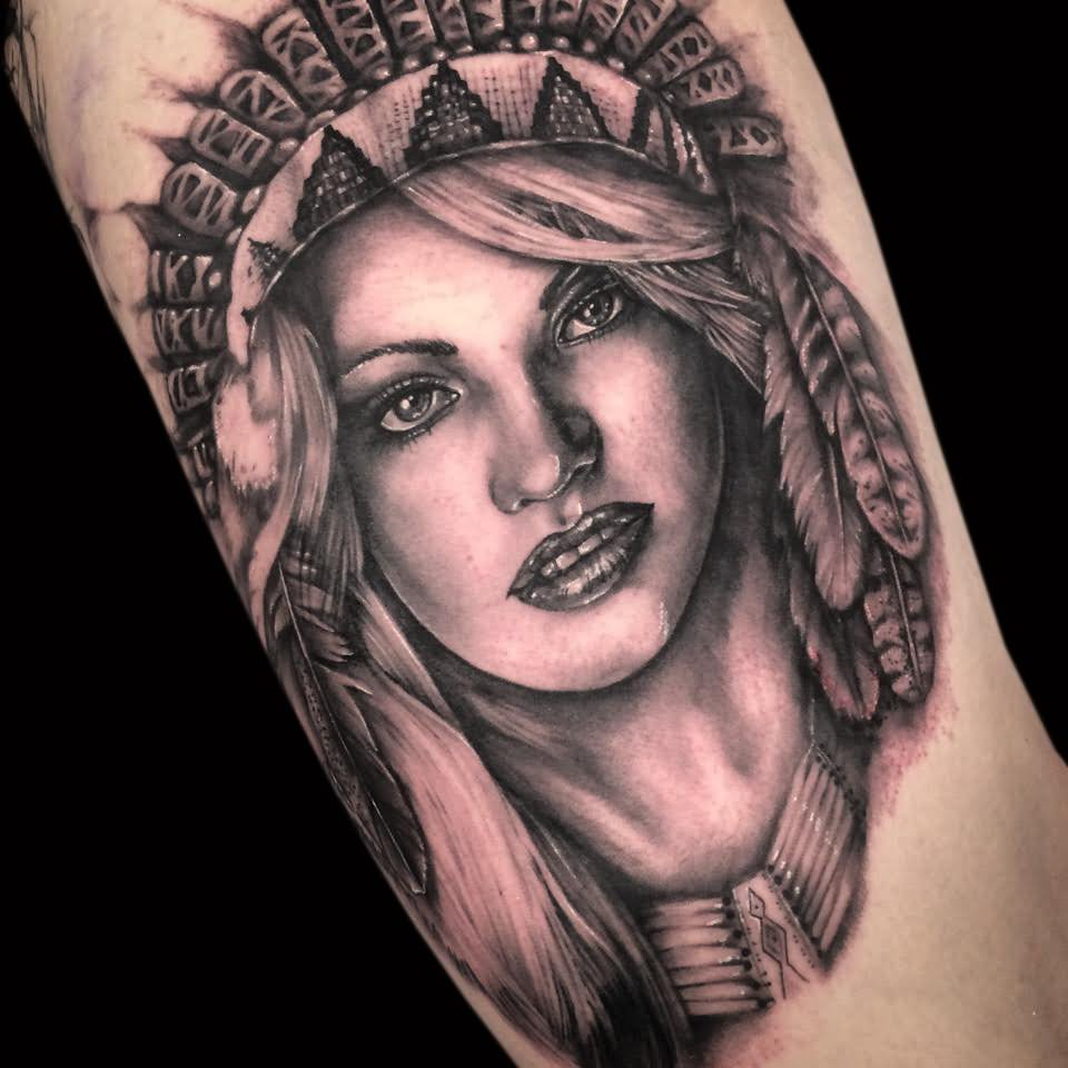 ac5c592d2 Black And Grey 3D Indian Chief Female Tattoo Design For Half Sleeve