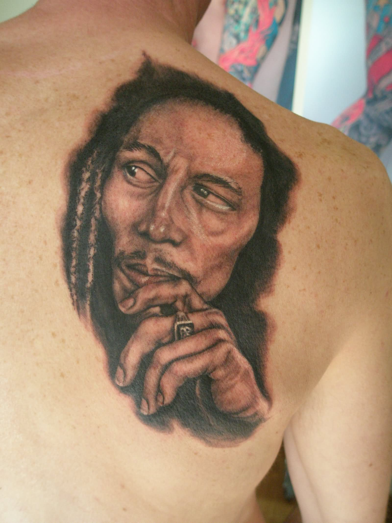 ef9795be3 Black And Grey Bob Marley Tattoo On Right Back Shoulder