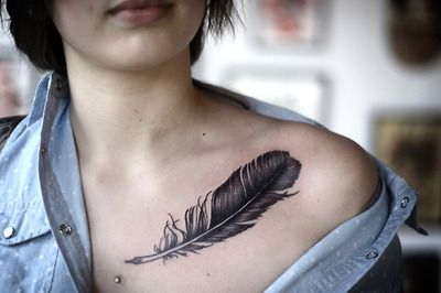 30 Collar Bone Feather Tattoos