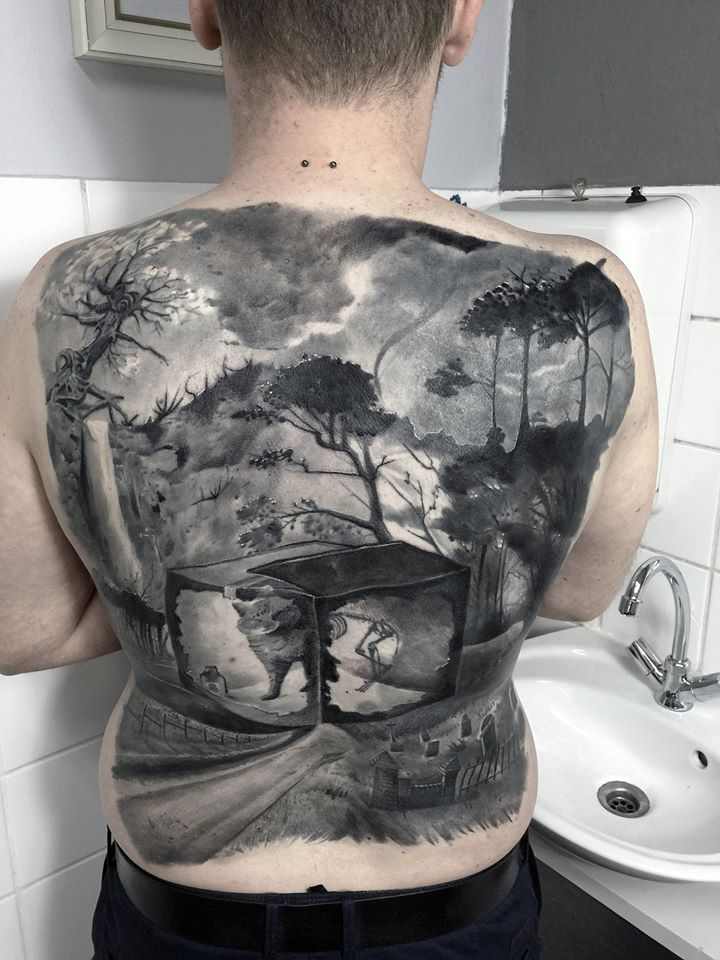 Black And Grey Full Back Tattoo For Men By Maksims Zotovs