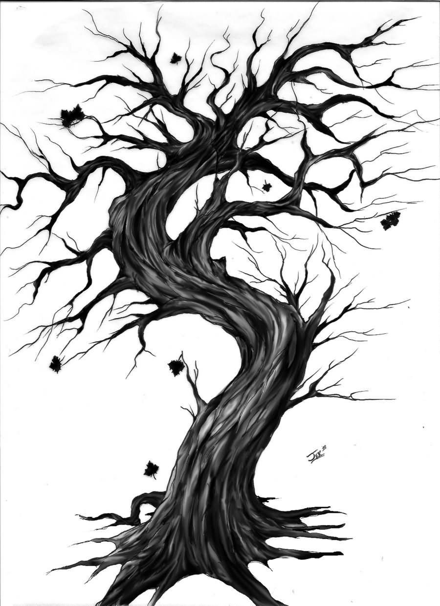 35 Gothic Tree Tattoos on scary christmas tree drawing