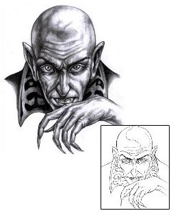 Black And Grey Gothic Vampire Tattoo Design