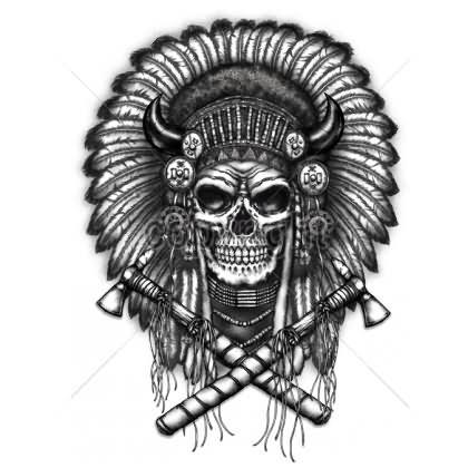 Indian Axe Tattoos 44 indian chief skull head tattoos