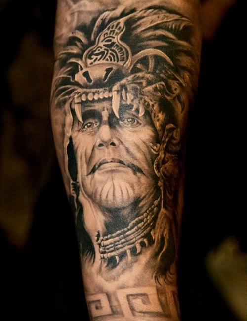 2d4c5c72d Black And Grey Indian Chief Tattoo On Half Sleeve