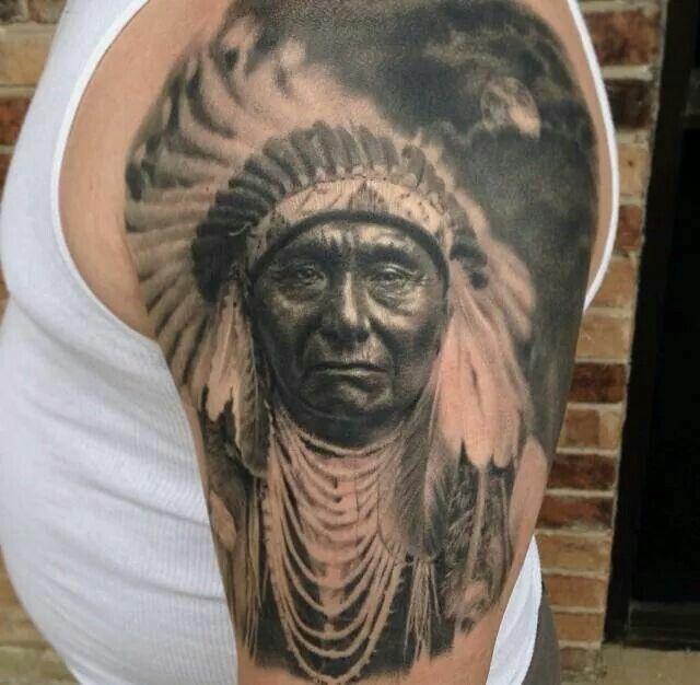 30b1effaf720a Black And Grey Indian Chief Tattoo On Man Left Half Sleeve