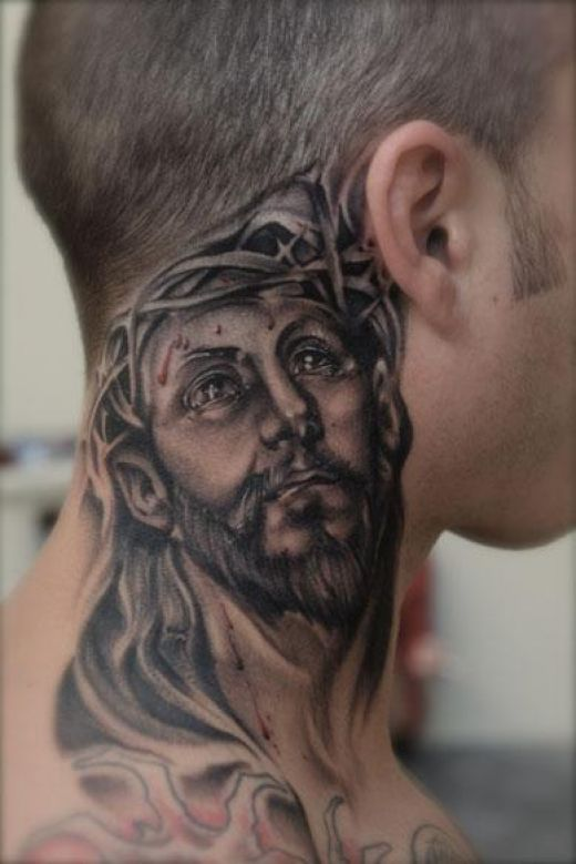 Black and grey jesus face tattoo on man side neck for Side neck tattoos