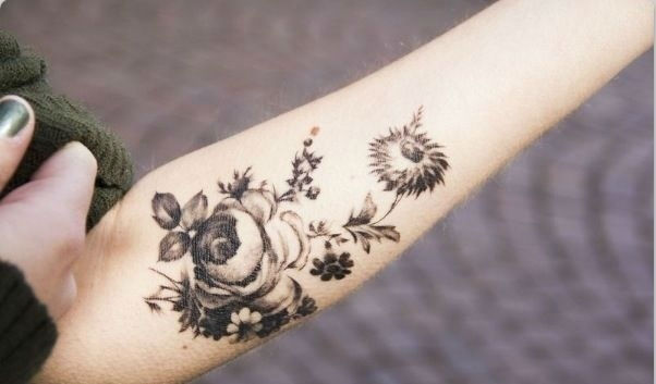 Floral Black And Grey Nature Tattoo: 35+ Amazing Nature Tattoos