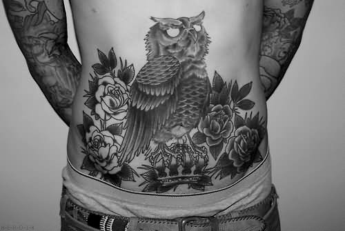 edfd0e2e413c8 Black And Grey Traditional Owl With Roses Tattoo On Man Stomach