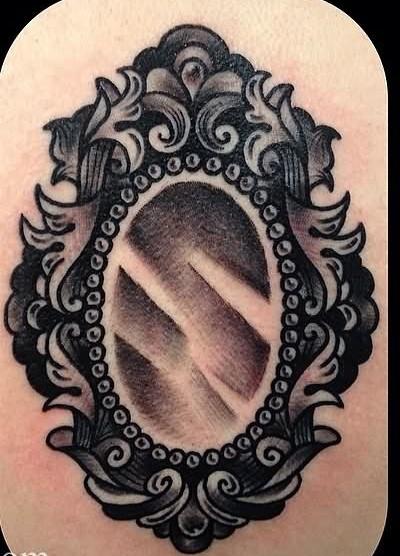 25 Victorian Hand Mirror Tattoo