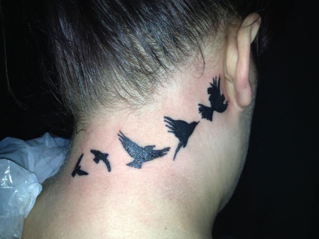 25 nice birds tattoos on neck for Birds flying tattoos