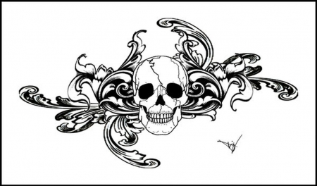 Black Gothic Skull Tattoo Stencil By Quicksilverfury Flash Designs