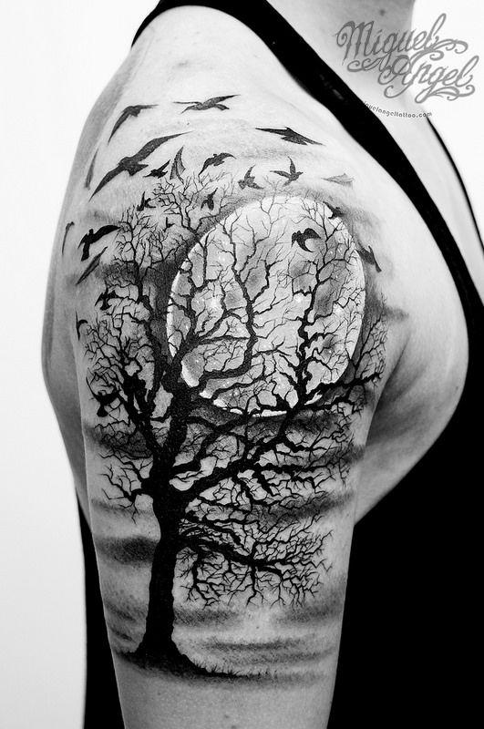 35 gothic tree tattoos for Black moon tattoo